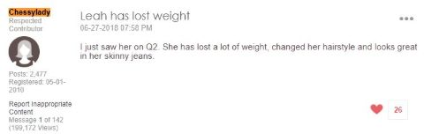A fan's comment making sure Leah Williams' lost weight.