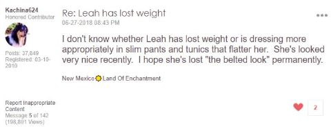 A fan says Leah Williams was dressing more appropriately now that she has lost weight.