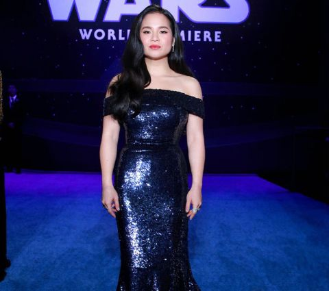 Kelly Marie Tran at LA premiere looks stunning in black off shoulder dress.