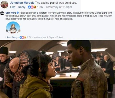 Star Wars FB page spoke against Kelly Marie Tran's harassers.