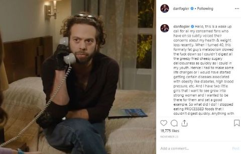Dan Fogler's instagram post where he shares about his weight loss journey.