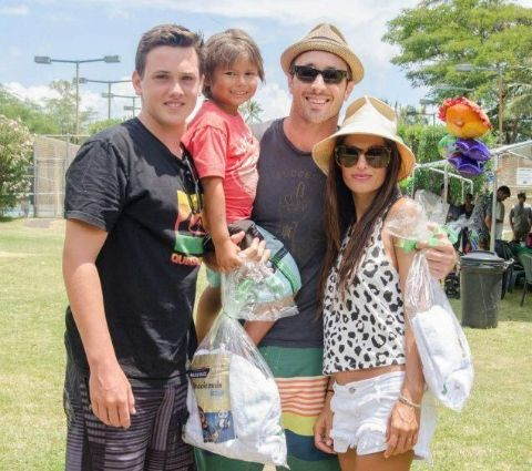 Alex O'Loughlin with wife, Malia Jones, and kids.