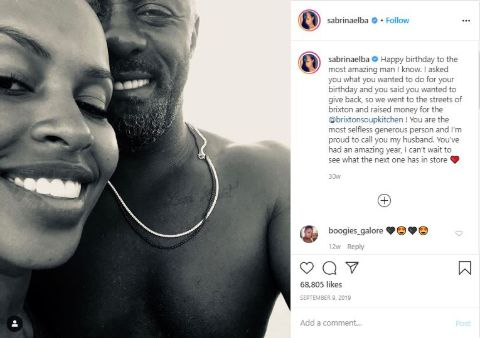 Sabrina Dhowre Elba talking about her husband on his 47th birthday.