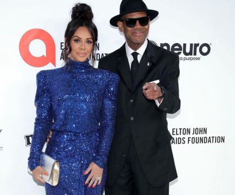 Jimmy Jam with wife at Elton John's Oscar Party.