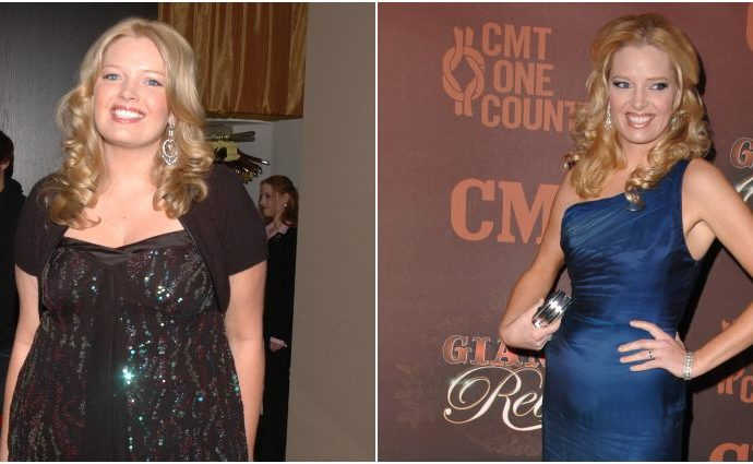 Melissa Peterman before and after her weight loss.
