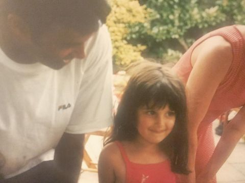 Anya Chalotra with her parents during childhood.