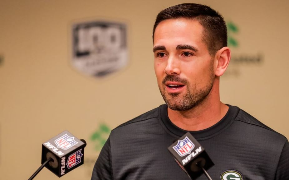 Matt LaFleur giving an interview ahead of his career as a head coach for Green Bay Packers in 2019.