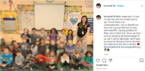 Tori Roloff shares a photo of her classroom on Insta.