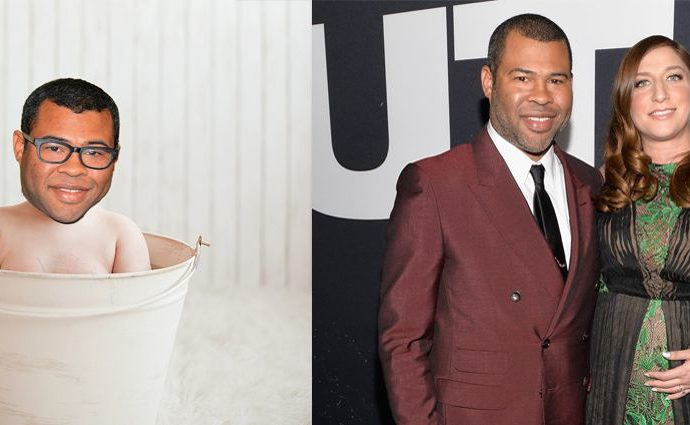 Beaumont Gino Peele (fake photo) on the left and Jordan Peele and Chelsea Peretti on the right