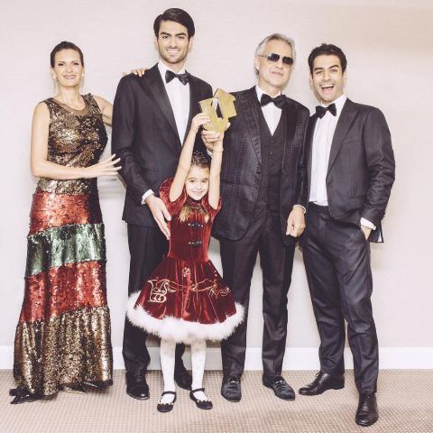 Andrea Bocelli's family consisting of Veronica Berti, Amos, Matteo, and Virginia Bocelli.