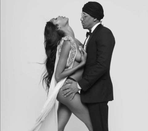 Nick Cannon with partner Jessica White.