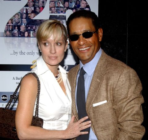 "Hilary Quinlan and Bryant Gumbel during ABC News honors Barbara Walters for her 25 years on ""20/20"" at Times Square Studio in New York City, New York, United States."