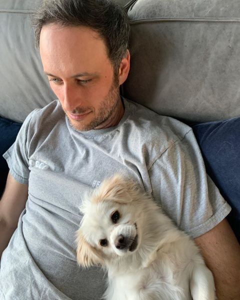 Noah Galuten with his new dog, Tianfu.