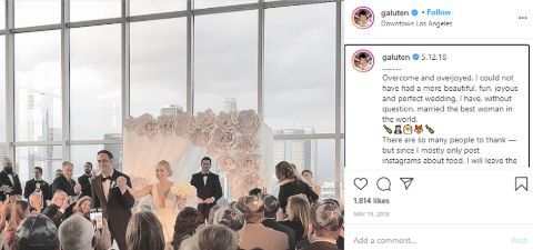 Noah Galuten's Insta post about his wedding.