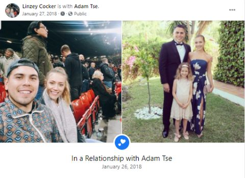 Linzey Cocker changes her relationship status to dating with Adam Tse.