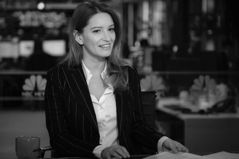 Katy Tur in a black coat and white shirt.