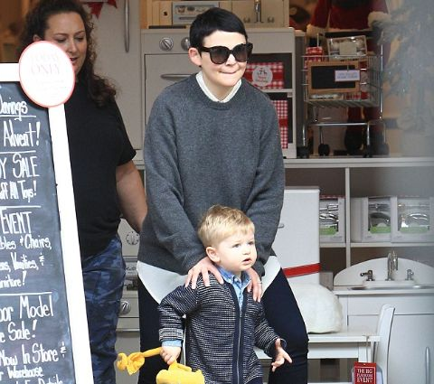 Oliver Finlay Dallas with his mother, Ginnifer Goodwin.