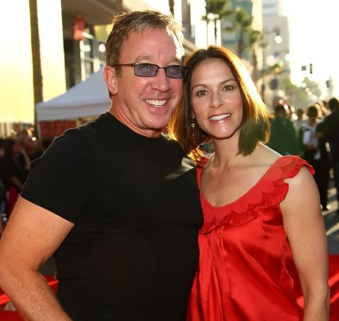 "Actor Tim Allen and wife Jane Hajduk arrive at the world premiere of Touchstone Pictures' ""Swing Vote"" held at the El Capitan Theater on July 24, 2008 in Hollywood, California."