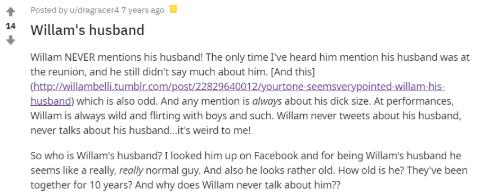 Reddit Question about Willam and his husband, Bruce.