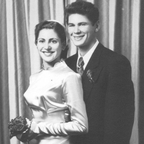 Charles Bronson and Harriet Tendler during their wedding.