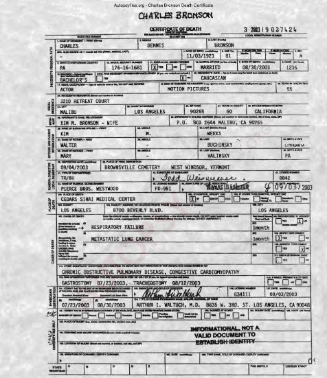 Charles Bronson's Death Certificate.