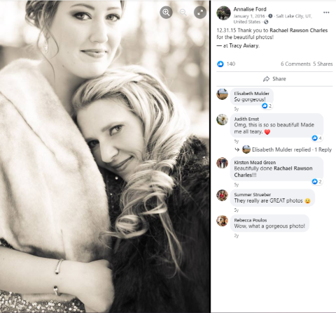 A Facebook snapshot of Melanie Olmstead and Annalise Ford's Marriage.