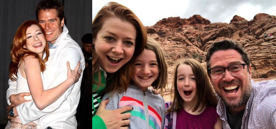 A collage of Alyson Hannigan with husband and with kids.