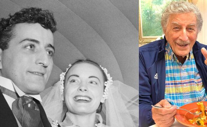 A two-side collage of Tony Bennett and Patricia Anne Beech's photos.