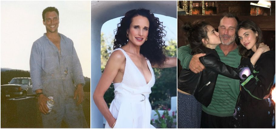 A collage of Paul Qualley, Andie MacDowell, and Kids.