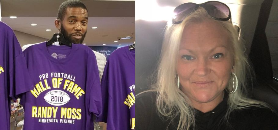 Randy Moss and Libby Offutt collage.